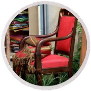 Red Chair Round Beach Towel