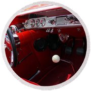 Red Chevy Impala Round Beach Towel