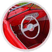 Red Classic Car Round Beach Towel