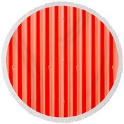 Red Corrugated Metal Round Beach Towel by Tom Gowanlock