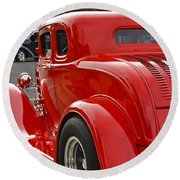 Red Coupe Round Beach Towel