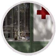 Red Cross. Belgrade. Serbia Round Beach Towel