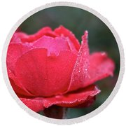 Red Crystal Petals Round Beach Towel