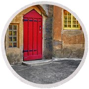 Red Door And Yellow Windows Round Beach Towel