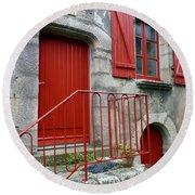 Red Door In Laroche Bernard Round Beach Towel