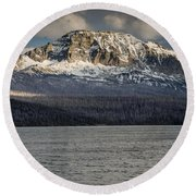 Red Eagle Mountain Evening Round Beach Towel