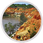 Red Eroded Soil Round Beach Towel