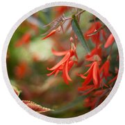 Red Exotic Round Beach Towel