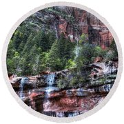 Red Falls Round Beach Towel