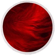 Red Feathers - 1 Round Beach Towel