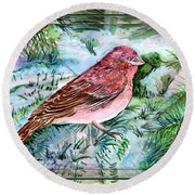 Red Finch Round Beach Towel by Mindy Newman