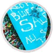 Red Fish Blue Fish Sale Round Beach Towel