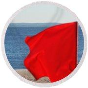 Red Flag Round Beach Towel