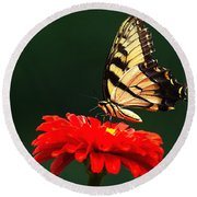 Red Flower And Butterfly Round Beach Towel