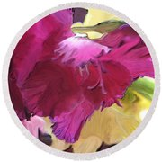 Red Flower In The Abstract Round Beach Towel