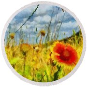 Red Flower In The Field Round Beach Towel