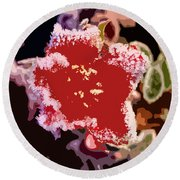 Red Flower With Frost Round Beach Towel