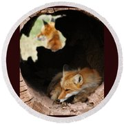 Red Fox Dreaming Round Beach Towel