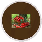 Red Fresh Plums In The Basket Round Beach Towel