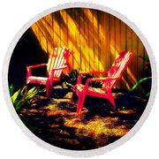 Red Garden Chairs Round Beach Towel