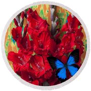 Red Gladiolus And Blue Butterfly Round Beach Towel