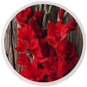 Red Gladiolus Round Beach Towel