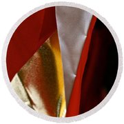 Red Gold And White Round Beach Towel