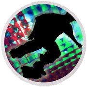 Red Green And Blue Abstract Boxes Skateboarder Round Beach Towel