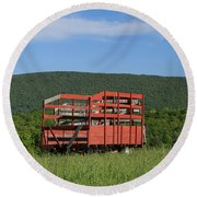 Red Hay Wagon In Green Mountain Field Round Beach Towel