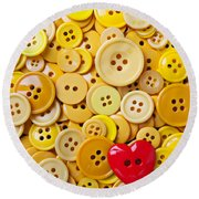 Red Heart And Yellow Buttons Round Beach Towel