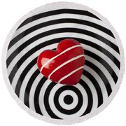 Red Heart On Circle Plate Round Beach Towel by Garry Gay