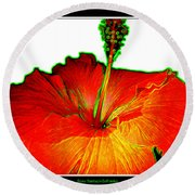Red Hibiscus With Special Effects Round Beach Towel