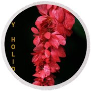 Red Holiday Greeting Card Round Beach Towel