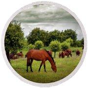 Red Horses Round Beach Towel