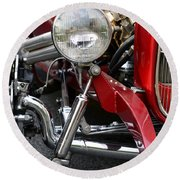 Red Hot Rod- Light And Chrome Round Beach Towel