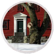Red House And Snow Round Beach Towel