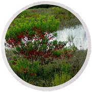 Red In Green Round Beach Towel