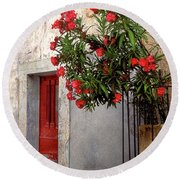 Red In Provence Round Beach Towel