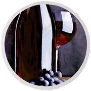 Red In The Shadows Round Beach Towel by Elaine Plesser