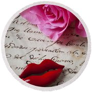 Red Lips On Letter Round Beach Towel