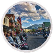 Red  Lodge Motorcycle Rally Round Beach Towel