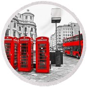 Red London Round Beach Towel