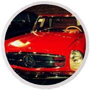 Red Mercedes Sl Round Beach Towel