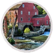 Red Mill On The Water Round Beach Towel