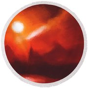 Red Mountains Round Beach Towel by Pixel Chimp