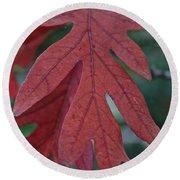 Red Oak Leaf Round Beach Towel