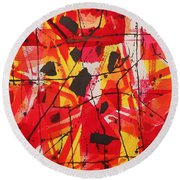 Red Orange Abstract Round Beach Towel