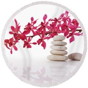 Red Orchid With Balance Stone Round Beach Towel
