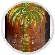 Red Palm Round Beach Towel