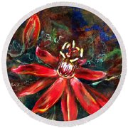 Red Passion Round Beach Towel